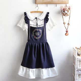 Short-Sleeve Blouse / Embroidered A-Line Pinafore Dress / Set from akigogo