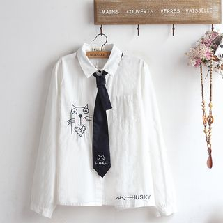 Cartoon Embroidered Shirt with Tie from akigogo