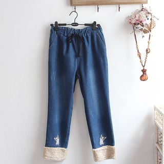 Cat Embroidered Fleece Panel Straight-Leg Jeans from akigogo