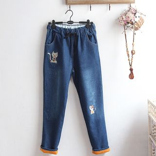 Cat Embroidery Fleece-Lined Straight-Fit Jeans from akigogo