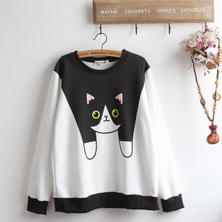Cat Print Pullover from akigogo