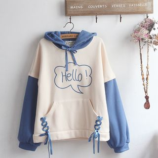 Color Block Embroidered Hoodie Blue - One Size from akigogo