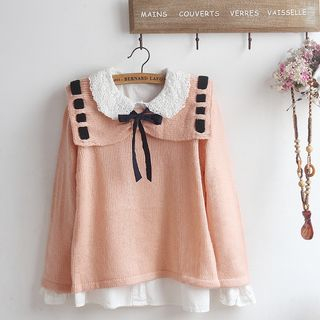Crochet Lace Collar Blouse / Sweater / Set from akigogo