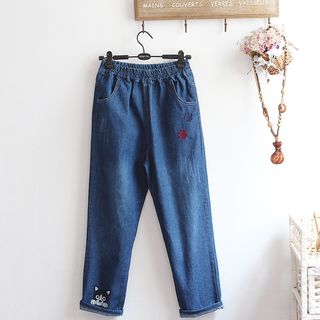 Dog Embroidery Straight-Fit Jeans from akigogo