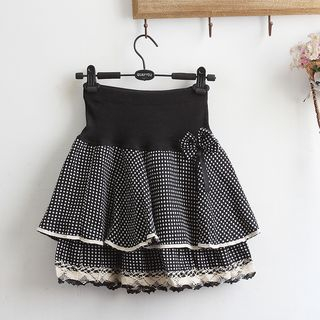Dotted Layered A-Line Skirt from akigogo