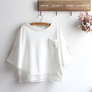 Embroidered Short-Sleeve T-shirt from akigogo