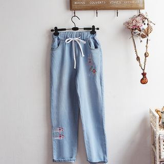 Embroidered Straight-Cut Jeans from akigogo