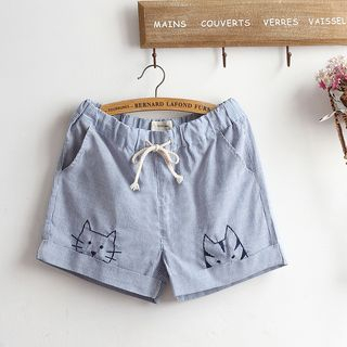 Embroidered Striped Drawstring Shorts from akigogo