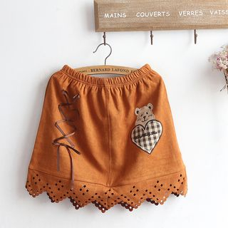 Faux Suede Bear Embroidered Mini A-Line Skirt As Shown In Figure - One Size from akigogo
