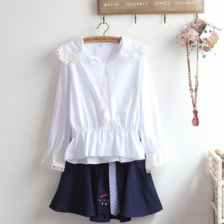 Lace Trim Blouse / A-line Skirt / Set from akigogo