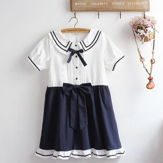 Sailor Collared Short-Sleeve A-line Dress from akigogo