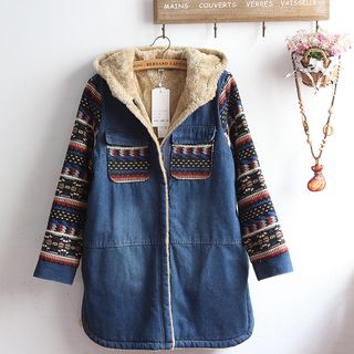 Set: Bow Accent Blouse + Patterned Fleece-Lined Hooded Denim Jacket from akigogo