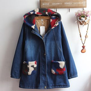 Set: Bow Accent Blouse + Pocketed Hooded Denim Jacket from akigogo