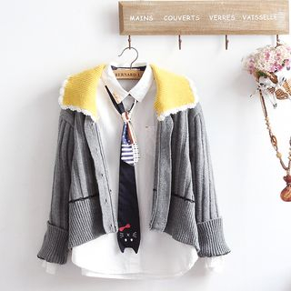 Set: Cable Knit Cardigan + Tie-Neck Shirt from akigogo
