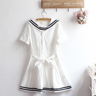 Striped Sailor-Collar Short-Sleeve A-Line Dress from akigogo