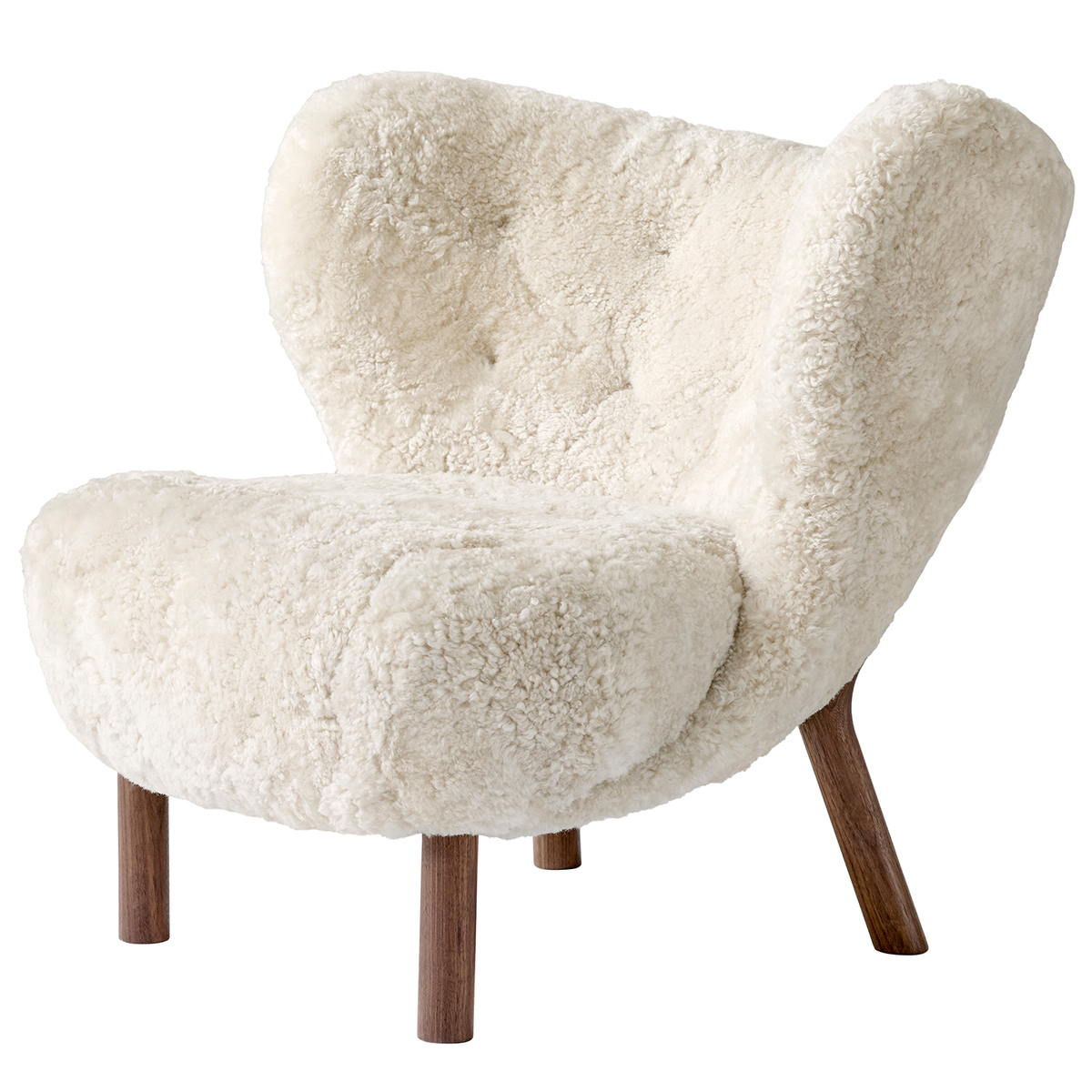 &Tradition Little Petra lounge chair, Moonlight sheepskin - walnut from &Tradition