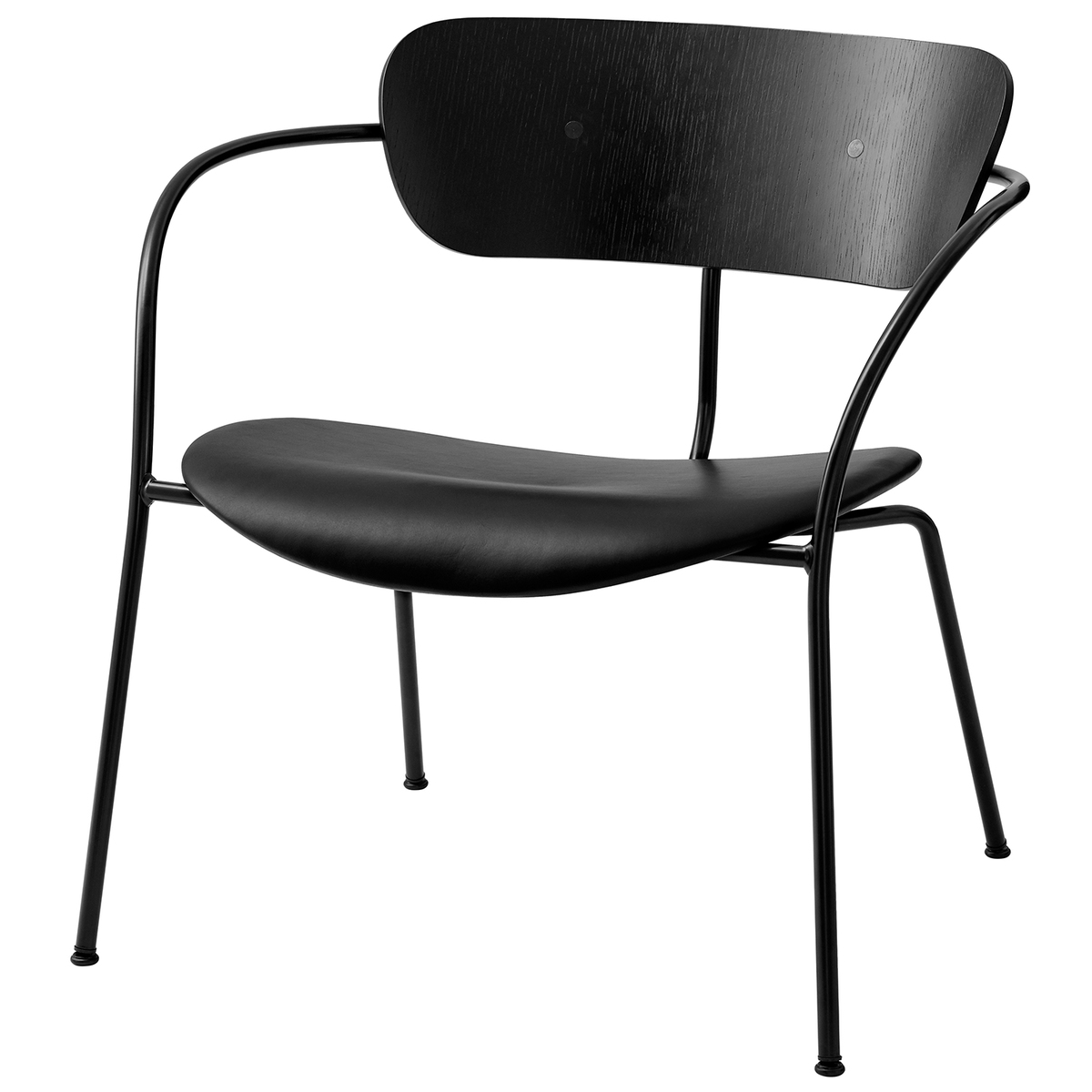 &Tradition Pavilion AV6 lounge chair, black oak - Silk Black leather from &Tradition