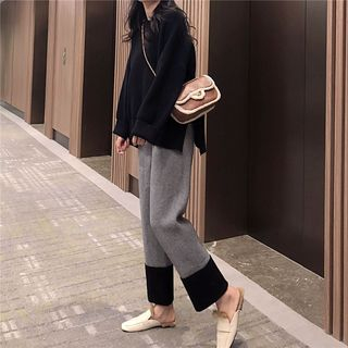 Two-Tone Wide-Leg Knit Pants from ever after