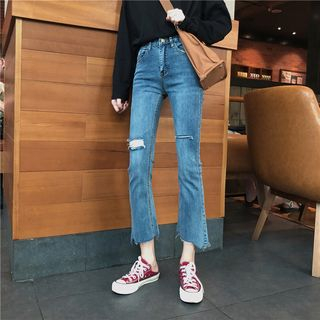 Washed Ripped Boot Cut Jeans from ever after