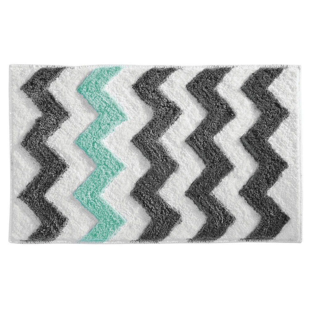 Microfiber Rectangular Chevron Rug Gray/Teal - iDESIGN from iDESIGN