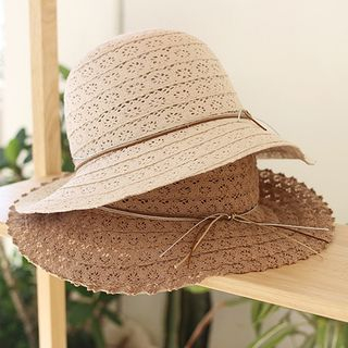 Bow-Detail Perforated Sun Hat from iswas