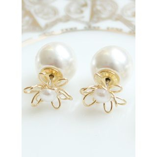 Faux-Pearl Floral Earrings from kitsch island