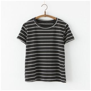 Striped Short-Sleeve T-Shirt from moripick